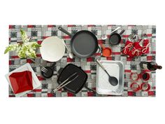 Barbecue Buffet:     Turn a basic buffet into a fun table by combining grill pans, bowls and aluminum serving trays.