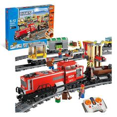 Compare Prices Lepin 02039 Model Building Kits Compatible With Lego City Red Cargo Train 3677 Building #Train #Model