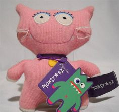 """Pink Kitty Cat Plush Ugly Cute Monstarz Stuffed Animal 6"""" Tall With Tag #PaperchaseProducts"""