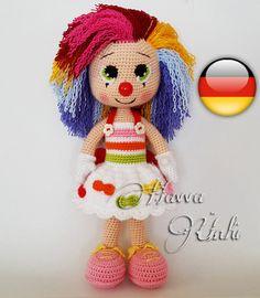 Deutsche Anleitungen - Weiblicher Clown Häkelanleitung