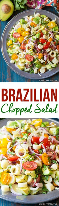 Brazilian Chopped Salad Recipe (Salada de Palmitos) A zesty gluten free and vegan salad with tons of crunch! Made with hearts of palm, tomatoes, avocado, fennel, mint and lime. via @spicyperspectiv