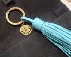 Personalized Leather Gift, Leather bagcharm, Leather Tassel Keychain, Anchor Blue Charm, Custom Initial Name Charm Keychain,