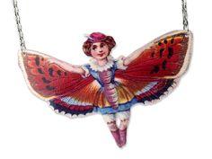 Acryl Kette Schmetterling Mädchen vintage von Dear Prudence auf DaWanda.com