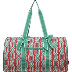 96e34527c5 Laguna Vine Print Quilted Large Duffle Bag-Mint