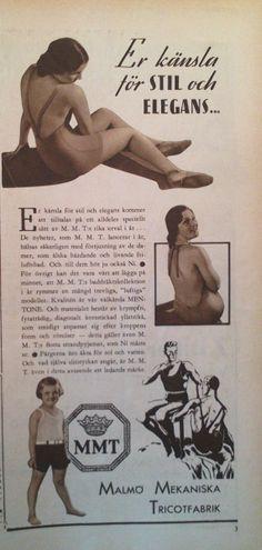 Ad for swimsuits from Malmö Mekaniska Tricotfabrik, Malmö, Sweden 1933