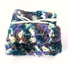 Wash Cloths Cotton Crochet Silky Wash Cloth Face Cloth Aqua Orchid Handmade Set of 2