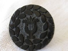ANTIQUE Black Glass Musical Lyre BUTTON by abandc on Etsy, $4.55