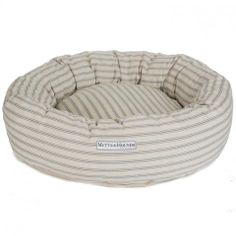 Small Ticking Donut Bed in Mist - Casafina