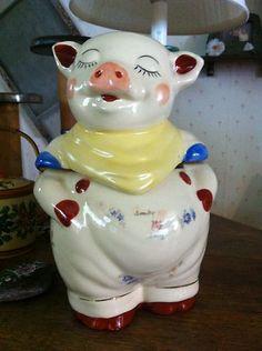 American Bisque Vintage Cookie Jar Boy Pig With Patch