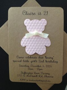 Teddy Bear with Ribbon Invitation Custom Made for Kids Birthday Party or Baby Shower on Kraft Paper, Set of 8 Invites    Let your guests know