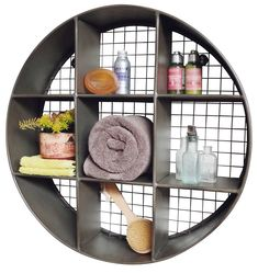 TURN-STORAGE-INTO-WALL-ART-industrial-style-wall-display-unit-Small-Round-Metal-Wall-Shelf