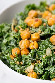 KALE CAESAR SALAD -- with a creamy vegan dressing and crispy chickpea croutons!