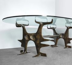 Victor Roman bronze coffee table Yves Gastou - Paris