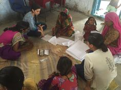 Two new Saheli interns beginning embroidery training for a new round of women