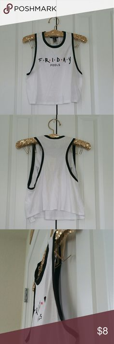 """▪Black/White Sleeveless Logo Top """"Friday Feels""""▪ Brand new with tags. Size is Small. 60% cotton, 40% modal. Color is black, white, red, purple. Measures 17"""" across the bust, 17"""" length.   Sorry no trades... If you have any questions please ask... If you don't like the price please use the offer button...  Have an amazing day! """"Great Sense of Style"""" Forever 21 Tops Muscle Tees"""