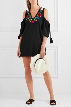 Black crinkled-cotton Slips on cotton Dry clean These pieces are hand-embroidered and therefore may differ from that pictured Imported Cotton Slip, Ancient Greek Sandals, Top Designer Brands, Black Media, Crinkles, Bikini Tops, Fashion Online, Cold Shoulder Dress, Studio