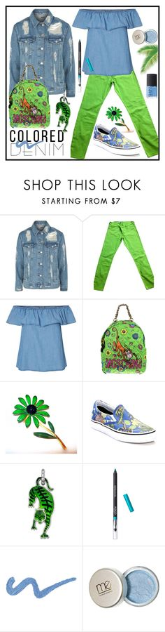 """""""Spring Trend: Colored Denim"""" by karinravasio ❤ liked on Polyvore featuring Topshop, Abercrombie & Fitch, Moschino, Vans, Gucci and NARS Cosmetics"""