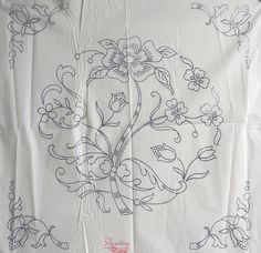 VINTAGE EMBROIDERY TRANSFER - LARGE JACOBEAN STYLE CUSHION