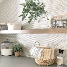 9 clever ways to cost-effectively upgrade your laundry room, # upgrade . - 9 clever ways to inexpensively upgrade your laundry room, # upgrade # cost - Laundry Room Tile, Laundry Room Remodel, Laundry Decor, Room Tiles, Wall Tiles, Ikea Laundry, Garage Laundry, Cement Tiles, Mosaic Tiles