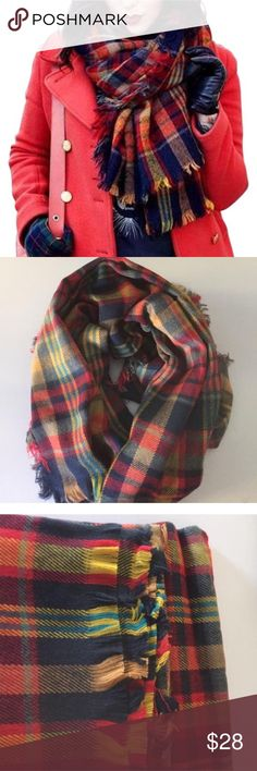 "Plaid Blanket Scarf NWT. Boutique brand. 78"" by 28"" Offers welcome! Accessories Scarves & Wraps"