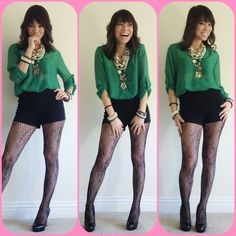 Green Sheer Blouse (Maude Las Vegas)  Black High Waist Shorts (Forever 21)   Pattern Mesh Tights (Forever 21)   Black Pumps (ShoeDazzle.com)   Pearls & Layered Necklaces (Various)  Photo Date: 12/7/12