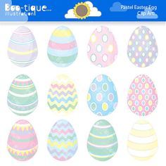 Digital Clip Art | Pastel Easter Eggs Digital Clip Art for Instant Download    • All clip art graphics are between 7-8 inches at their widest but can be scaled without distortion or loss of quality to suit your project.    • 12 x Pastel Easter Eggs Clipart digital clip art set. Great for Valentines Day card designs, gifts, menus...    • Includes high res JPG (300 dpi), high res PNG (300dpi), a PDF and a EPS file which can be edited in vector software such as Adobe Illustrator or Corel Draw…