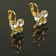 Pair of Stylish Butterfly Shaped Charming Rhinestone Pendant Ear Drop Earrings / Ear Pendants Jewelry