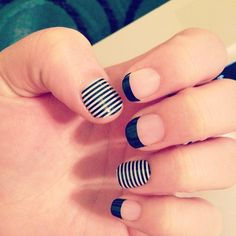 Jamberry Nail Wraps - Black Tip and Black and White Skinny http://smithmichellea.jamberrynails.net
