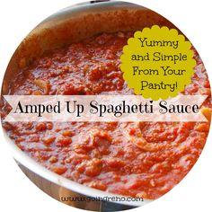 Use ingredients from your pantry to turn a jar of spaghetti sauce into something special From: Going Reno, please visit Sauce Dips, Sauce Recipes, Pasta Recipes, Beef Recipes, Dinner Recipes, Cooking Recipes, Dinner Ideas, Homemade Sauce, Homemade Pasta