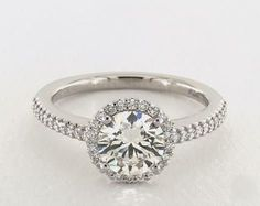 1.4ct Round Halo Engagement Ring in Platinum - See it in 360 HD SuperZoom!