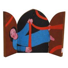 Adelson do Prado. Oratório. 23x17 cm (fechado) e 23x32 cm (aberto)