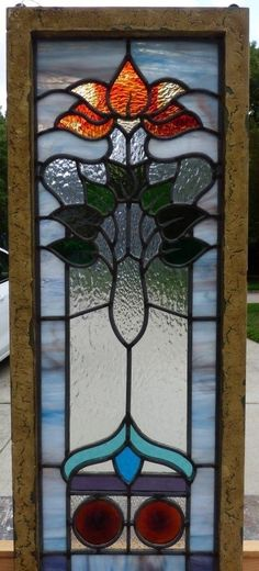 Victorian Tulip Leaded Stained Glass Window | eBay