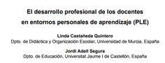 Aprendizaje formal, no formal e informal. Docentes conectados. El desarrollo profesional de los docentes en entornos personales de aprendizaje (PLE).