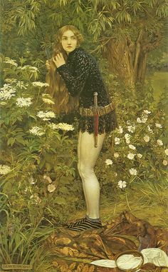 """Eleanor Fortescue-Brickdale, """"The Little Foot Page,"""" based on the story of Burd Helen, a tragic heroine from Scottish balladry, who dressed as a boy page to follow her cruel lover on foot while he rode on horseback. After bearing him a child, she was finally acknowledged by him and they married. Here she is shown secretly doffing her female attire and cutting her long hair, in preparation for her journey."""