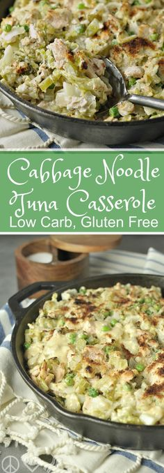 Low Carb Cabbage Noodle Tuna Casserole - LCHF, paleo, Gluten Free | Peace Love and Low Carb