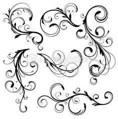 Buy Floral elements by PixelEmbargo on GraphicRiver. Vector illustration set of swirling flourishes decorative floral elements Web Design, Swirl Design, Vine Design, Swirl Tattoo, Filigree Tattoo, Vine Tattoos, Tatoos, Quilled Creations, Clip Art