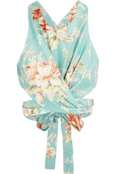 Zimmermann|Anais printed cotton and silk-blend wrap top|NET-A-PORTER.COM