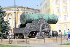 The 40-ton Tsar Cannon, built during the reign of Ivan the Terrible's imbecilic son Fyodor in 1586, possesses a barrel in excess of five meters long and a calibre of 890 mm. The gun should in theory have been capable of smiting foolish attackers with projectiles the size of wine casks. As if the cannon's sheer size were not inspiring enough, the barrel and carriage are adorned with a relief of the redoubtable Fyodor as well as a scene in which a fierce Russian lion devastates a snake ...
