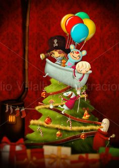 Christmas tree illustration children christmas by emiliovillalba, €28.00