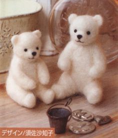 DIY Needle wool felt Couple bear KIT Japanese by HanamiBoutique, $11.50