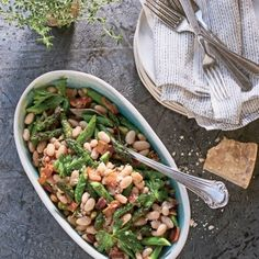 White Bean–Asparagus Salad with Bacon and Thyme | Coastalliving.com