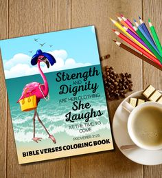 This beautiful coloring book for adults will offer you guidance and encouragement you need on a daily basis. Bible Quotes, Bible Verses, Notebooks, Journals, Flamingo Illustration, Proverbs 31 25, Flamingo Gifts, Diy Art, Planners