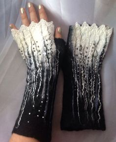 Black and white half gloves