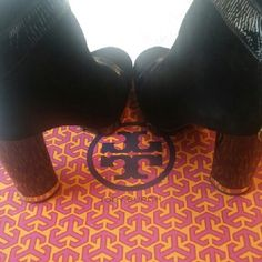 Tory Burch Boots Black Suede / Patent Leather size 9. Original box for storage. Comfy heel for a boot. One of my favs! Gently worn. Has one nick on the inside top left heel as shown in last photo that can be fixed up. Make an offer... Tory Burch Shoes Heeled Boots