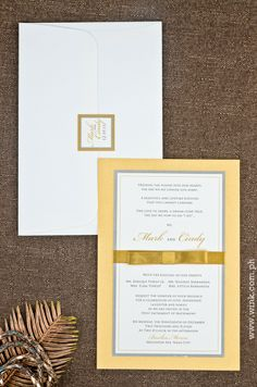 Executive | Written in Ink #wedding #invitation #gold #ribbon #layered #formal Vows, Wedding Invitations, Ribbon, Ink, Writing, Formal, Tape, Preppy, Band