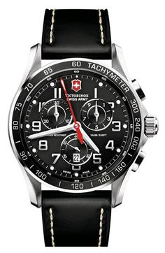 Victorinox Swiss Army® 'Chrono Classic XLS' Leather Strap Watch | Nordstrom