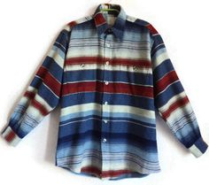 Vintage Wool Shirt Men's Women's Warm Shirt Striped Shirt Warm Clothing Oversize Unisex Shirt Blue Red  Color Shirt Long Sleeves by Vintageby2sisters on Etsy
