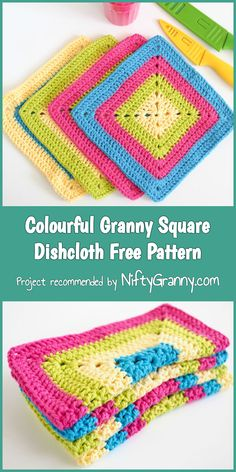 Colourful Granny Square Dishcloth Free Pattern