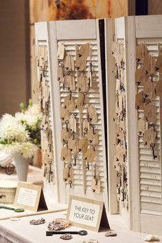 skeleton keys on an old shutter for escort cards