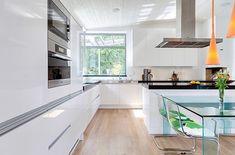 Lovely in Exotic Villa Design Swedish island of Lidingo: White Kitchen Modern Kitchen Table Exotic Villa On Swedish Island